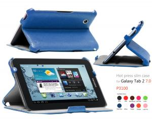 China Blue Samsung Galaxy 2 Tab Cases Ultra Slim With Hard Back Shell Stand on sale