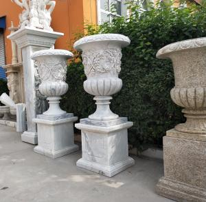 Marble Statue Planter Stone Carvings Flowerpot Sculpture Outdoor