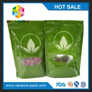 China Green Tea Bags Packaging Printed Mylar Stand Up Ziplock Bag With Clear Window on sale