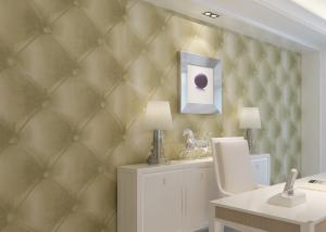 China Creamy White Leather Wallpaper , Removable Modern Vinyl Wallpaper PVC on sale