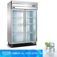 Hotel kitchen display fridge used stainless steel glass door refrigerator