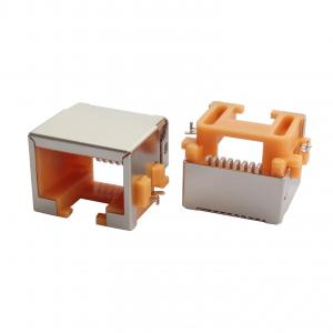 China RJ45 modular connectors, right angled, SMT, orange housing, recessed type on sale
