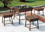 China No Back Chair Rattan Dining Set / 4 Seater BBQ Outdoor Furniture wholesale