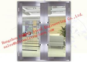 China Galvanized Steel Fireproof Glass Fire Rated Double Doors For Shopping Mall on sale