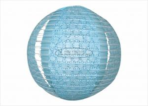 China Blue Fuschia Multicolored Paper Lanterns , Round Outdoor Hanging Party Paper Lanterns on sale