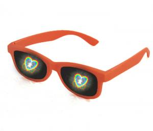 China PET laser plastic frame rainbow 3d fireworks glasses lenses with customized size on sale