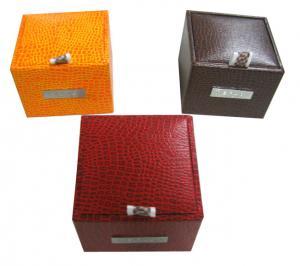 China Plastic Mould Keepsake Gift Boxe For Men's Cufflink Croco veins Metal Trademarks on sale