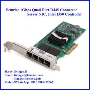China 10/100/1000Mbps 4 Ports RJ-45 Connector Gigabit Ethernet Server Adapter, Copper Adapter on sale