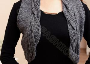 dba3117f26831c ... Quality Womens Cable Knit Sweaters Sleeveless Grey Short Cardigan Vest  Knitwear for sale ...
