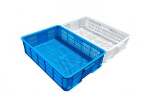 China HDPE Perforated Plastic Trays Collapsible Plastic Crate For Bread And Fish 600*420*145 on sale