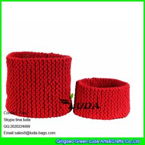 China LDKZ-033  Pure color storage basket hand knitted home storage basket large laundry basket on sale