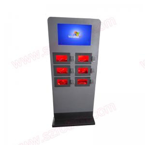 China Customized stand alone Self service touch screen Cell phone charging kiosk with digital locker on sale