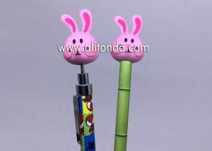 China Promotional Plastic retractable click pen with PVC rabbit figures decoration and custom logo on sale