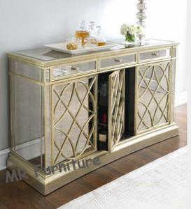 China Champagne Gold Mirrored Sideboard Table, 85cm Height Mirrored Dining Room Buffet on sale