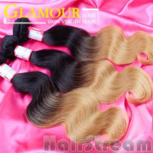China Two Color human Brazilian ombre hair weave dark blonde real Brazilian hair on sale