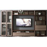 2017 New Walnut Wood Furniture Design Living room Combined TV Wall Units by Tall Cabinets and Floor stand & Hang Racks
