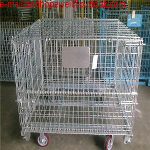 China Folding Wire Mesh Containers/ Stackable Storage Cage/ Metal Basket/Folding wire mesh container steel storage cage on sale