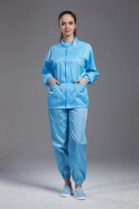 China Safety Blue Anti Static Apparel , Washable Clean Room Coveralls Lightweight on sale