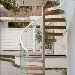 China Outdoor Industrial Spiral Stair Wooden Tread Spiral Staircase on sale