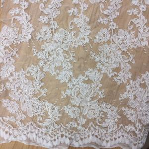 China 2017 hot sale Bridal Wedding Dress Fabric  Mesh Based Embroiery Lace Fabric in Ivory Color on sale