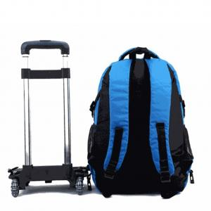 China Student Waterproof Nylon Rolling School Bags With Wheeled Trolley Hand In Blue on sale