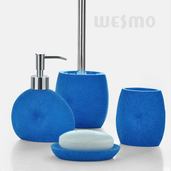 Charmant Royal Blue Color Bath Accessories Set / 4 Piece Polyresin Bathroom Set  (WBP0343A)