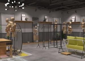 Quality Modern Women's Dressing Clothing Store Display Fixtures Iron And Wood Material for sale