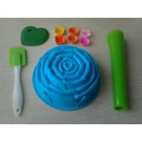 China Non-Stick 10pcs Silicone Baking Set With Rose Cake Mould , Silicon Spatula on sale