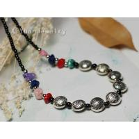 China Eight bead engraved designs Tibetan silver necklace,exquisite minority jewelry -608 on sale