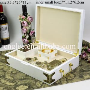 China piano white lacquer finish luxury wooden perfume gift packaging box arabic on sale
