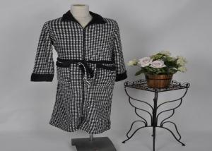 China Coral zip gown mens fleece bathrobes with contrast belt , neck and cuff S / M / L / XL on sale