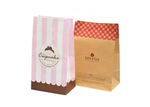 China Natural Sustainable Bakery Packaging Bags / Food Grade Brown Paper Bags on sale