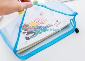 China PVC zipper stationery mesh bag, office supplies custom zipper polyester mesh bag for document on sale