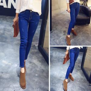 China High Waist Womens Skinny Jeans Stretch With Metal Bottons Casual Jeans supplier