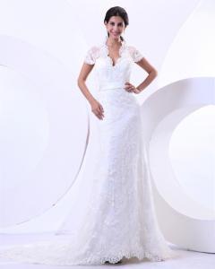 White High Collar Short Sleeve V Neck Wedding Dresses With