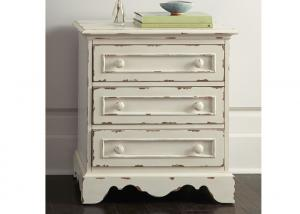 China Wooden Antique White Kitchen Cabinets Night Stand With Three Drawers on sale