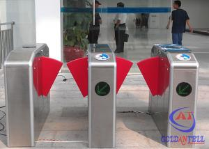 China Pedestrian RS485 Security Flap Barrier Turnstile , 304# Stainless Steel Gate Barrier System on sale