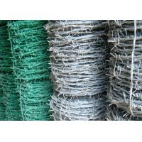 BWG 8 - 20 Green Barbed Wire , Hot Dipped Galvanized Airport Security Fence