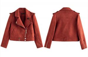 China Polyester Shell Red Suede Faux Leather Jacket Ladies Womens Casual Wear on sale