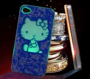 China PC Flashing iPhone cases with lovely hello kitty flash light on sale
