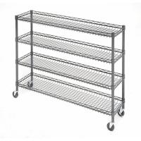 China OEM Supermarket 4 Tier Metal Rolling Cart With Wheels And Baskets on sale