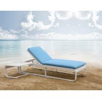 China waterproof blue relaxing recliner outdoor chaise lounge chair and table malaysia Aluminium Garden Rattan sunlounger on sale
