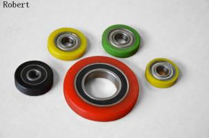 China Heavy Duty Small Polyurethane Roller Wheels With Aluminum Center Assemble Ball Bearing on sale