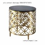 gold-plating stainless steel marble table laser cutting design for hotel lobby
