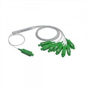 China Steel Tube Input 250μM Fiber Optic PLC Splitterr With 1 x 8 SC / APC Green Connector on sale