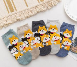 China Breathable Cute Dog Ladies Ankle Socks , Organic Cotton Short Socks Womens on sale