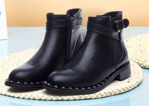 China American Style Womens Genuine Leather Martin Boots With Metal Rivets And Side Zipper on sale