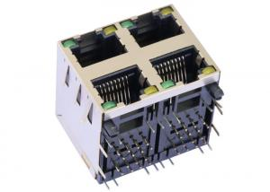 China 2041376-1 2x2 Multi-port RJ45 Side Entry PCB Jack With Shield LPJE107-3AHNL on sale