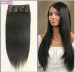 """18"""" Clip en las extensiones del cabello humano, 10pcs, 100g, color #1"""