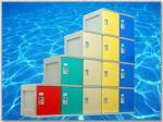 4 armarios de almacenamiento plásticos de la grada, armarios del vestuario con el trébol se cierran/azul de la puerta